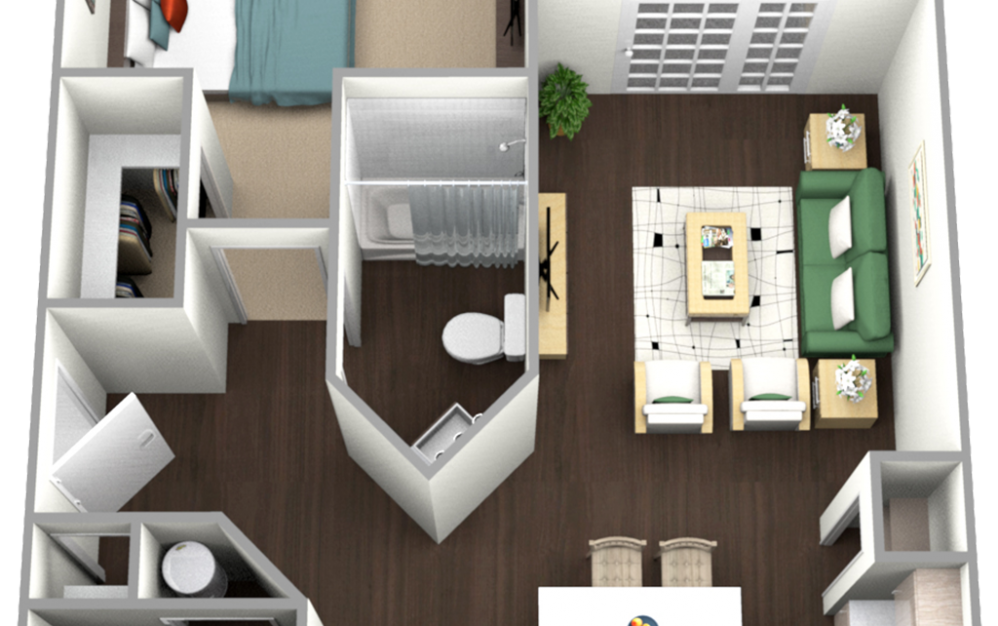 One Bedroom - F - 1 bedroom floorplan layout with 1 bath and 855 square feet.