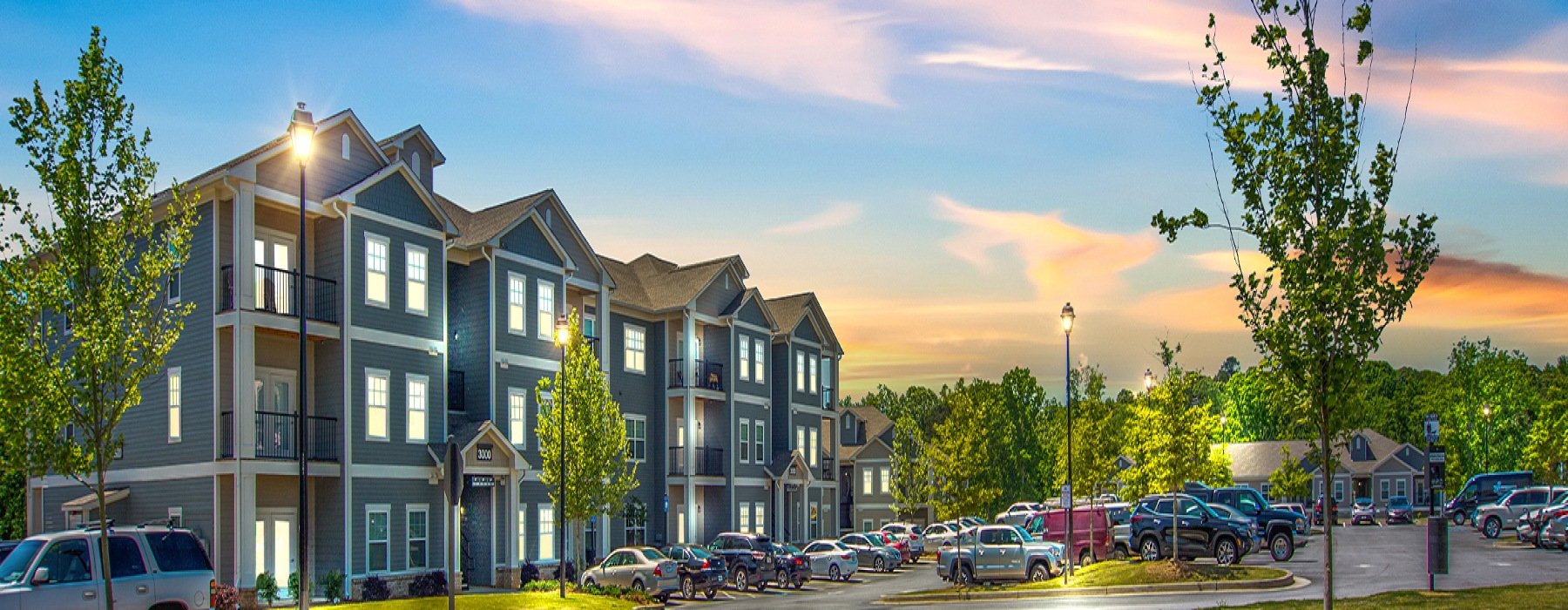 Exterior view of the apartments during sunset
